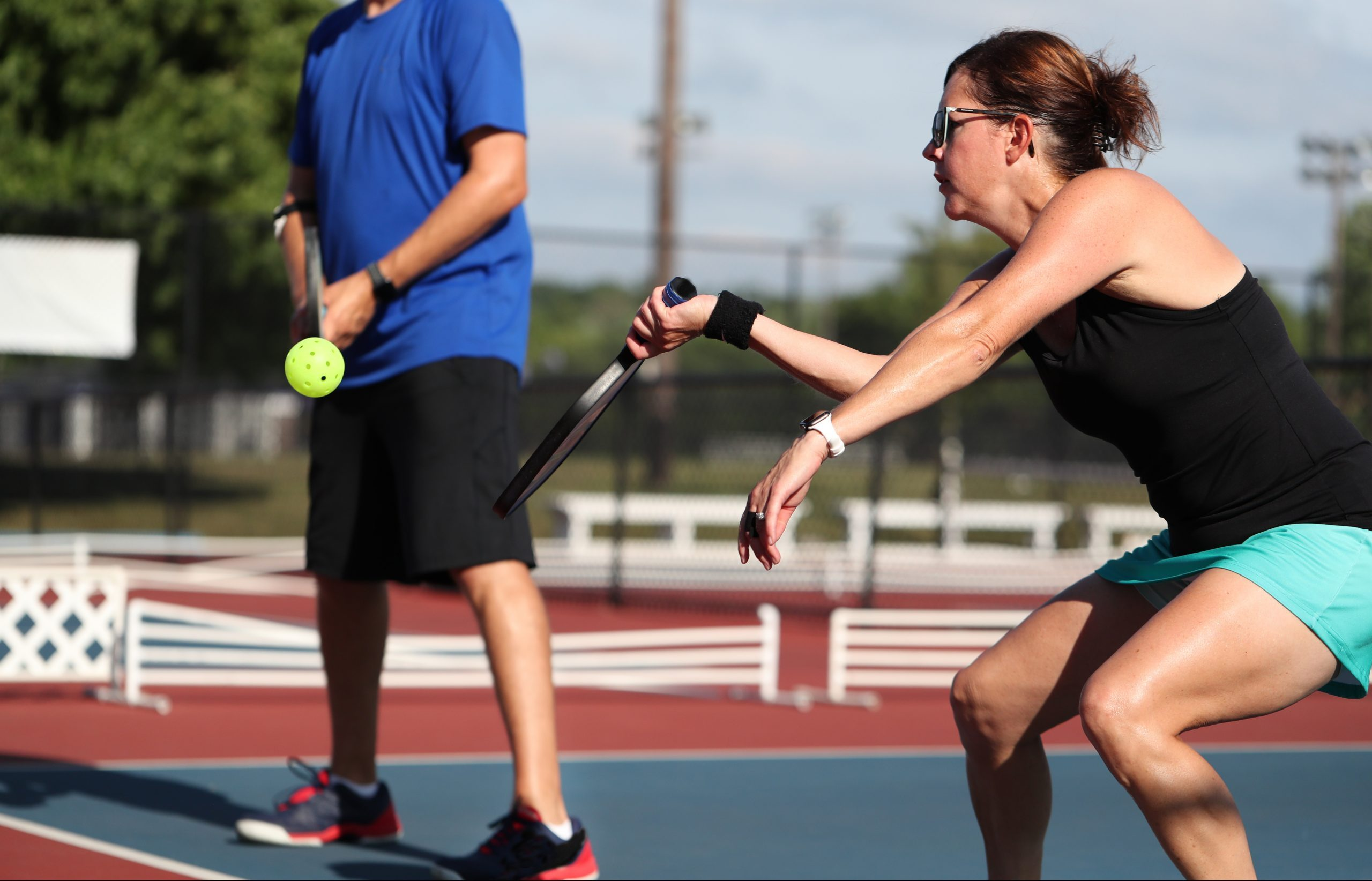pickleball kitchen play during a mixed doubles match